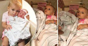ADORABLE: pequeña se niega a que la separen de su hermana recién nacida