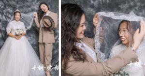 Hija se viste de novio para cumplir el sueño de su madre viuda