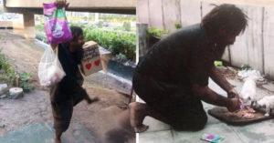 Hombre sin hogar gasta lo poco que gana en alimento para gatos callejeros